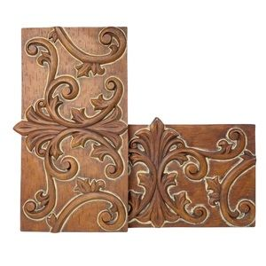 Southern Home carved ornate wood wall hangings two